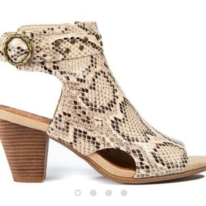 Shoes - Bare Traps   Peep Toe Snakeskin Booties